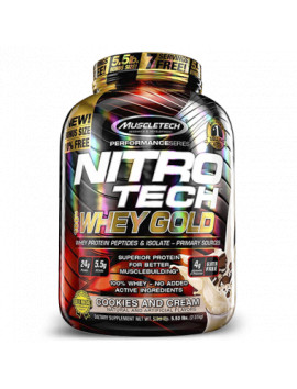 MUSCLETECH NITRO TECH 100% WHEY GOLD PROTEIN COOKIEAS AND CREAM 2.51KG